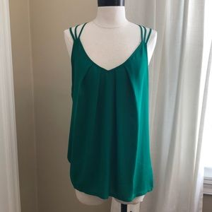 Express Strappy mixed media tank - Green - Large